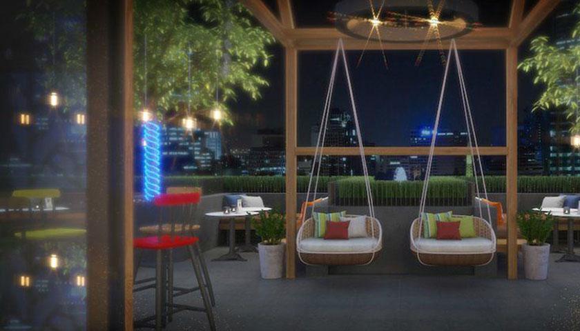 Mẫu thiết kế quán cafe sân thượng phong cách hiện đại